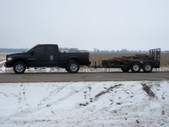Lindahl Marine truck on site with work trailer